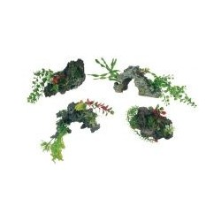 Deko Fels mit Plstikpflanze...